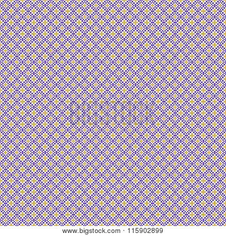 Abstract Seamless Pattern. Cross-stitch. Purple And Yellow Color.