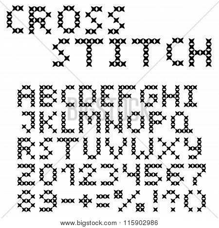 The Latin Alphabet. Large Black English Letters. Cross-stitch.