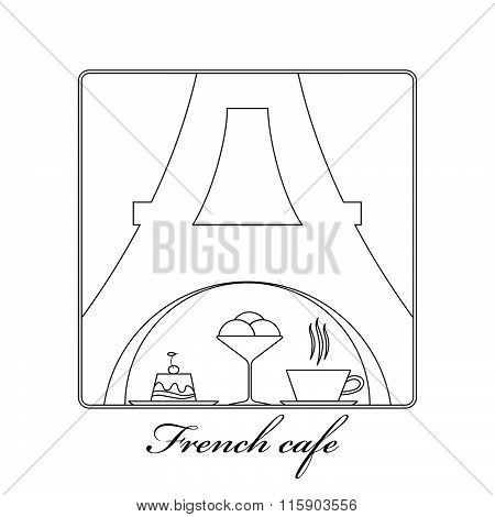 Traditional French kitchen mono line logo