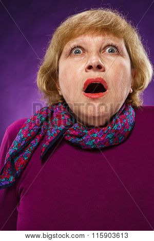 The frightened senior woman