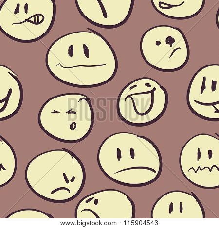 Seamless background with emoticons. Vector illustration