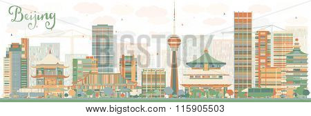 Abstract Beijing Skyline with Color Buildings. Business travel and tourism concept with historic buildings. Image for presentation, banner, placard and web site.