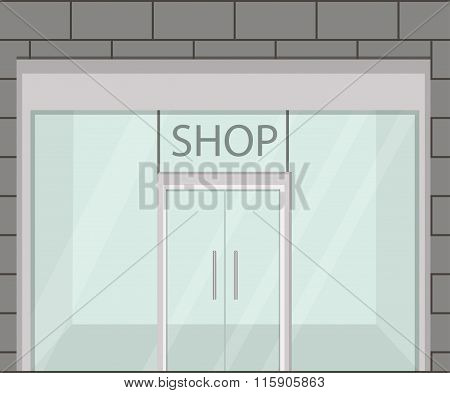 Shop Front. Exterior Horizontal Windows Empty For Your Store Product Presentation Or Design. Eps10 V