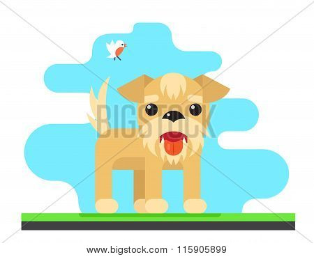 Funny Dog Bird Sky Background Concept Flat Design Vector Illustration