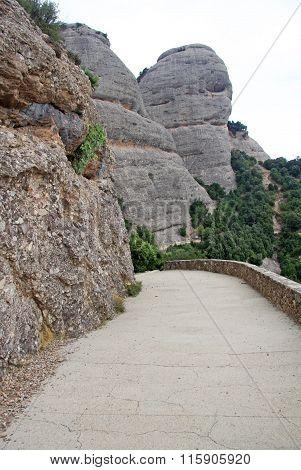 Montserrat, Spain - August 28, 2012: Road To Saint Joan Hermitage In Montserrat Mountain, Spain. Ben