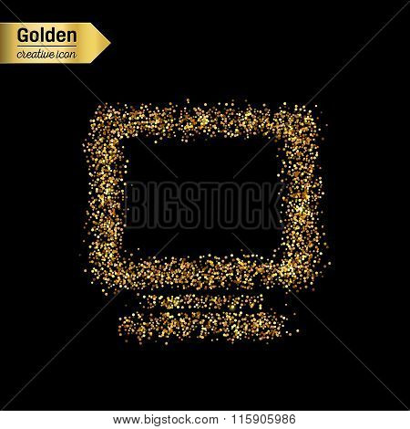 Gold glitter vector icon of monitor isolated on background. Art creative concept illustration for we