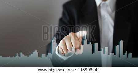 Businessman Activate Growth Process, choosing house, real estate city concept. Skyline Hand pressing