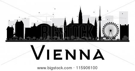Vienna City skyline black and white silhouette. Simple flat concept for tourism presentation, banner, placard or web site. Business travel concept. Cityscape with landmarks
