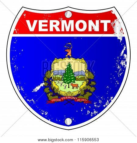 Vermont Flag Icons As Interstate Sign