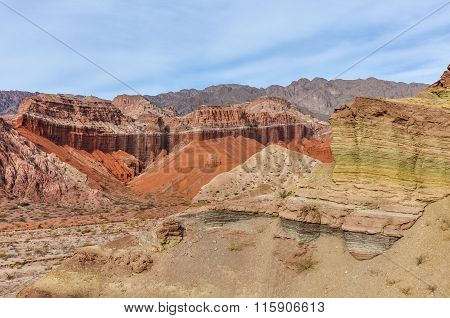 Colorful Rock Formations In The Quebrada De Las Conchas, Argentina