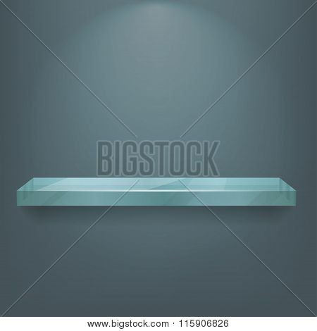 Glass Shelv On Light Blue Background. Vector Eps10 Illustration