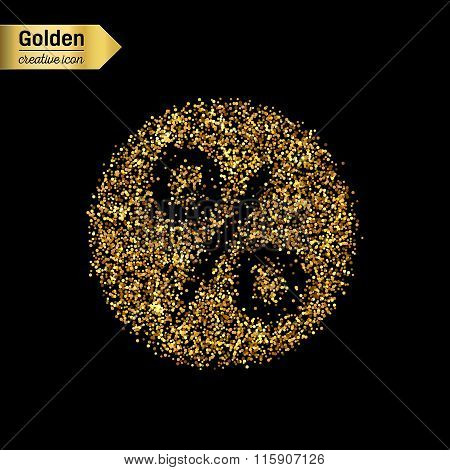 Gold glitter vector icon of percent isolated on background. Art creative concept illustration for we