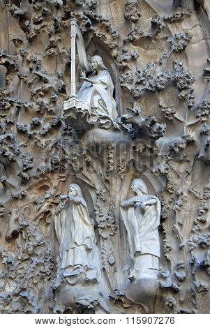 Barcelona, Catalonia, Spain - December 12, 2011: Nativity Facade Of Sagrada Familia Temple, Barcelon