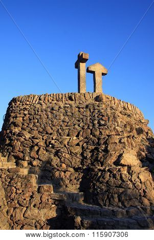 Barcelona, Catalonia, Spain - December 12, 2011: Stone Crosses On The Hill (turo De Les Tres Creus)