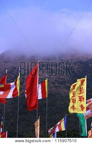 Colourful flags in the mountain