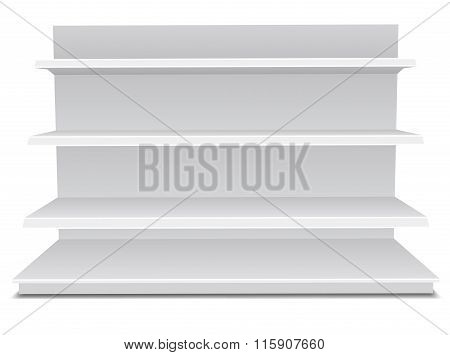 White Long Blank Empty Showcase Displays With Retail Shelves Products On White Background Isolated.