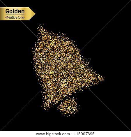 Gold glitter vector icon of bell isolated on background. Art creative concept illustration for web,