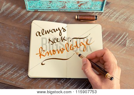 Handwritten Text Always Seek Knowledge