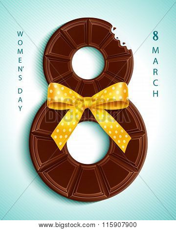 8 March, Womens Day. Greeting Card With Chocolate And Yellow Bow