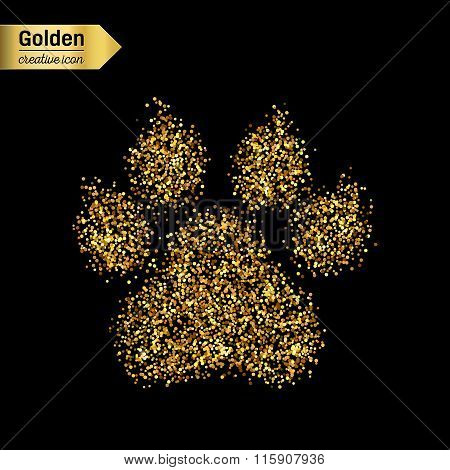 Gold glitter vector icon of animal footprint isolated on background. Art creative concept illustrati