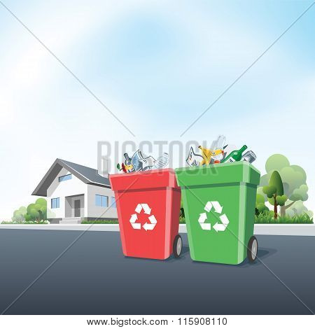 Household Recycling Waste Bins Outside Of A House