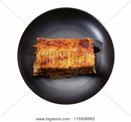 Isolated Piece Of Lasagna In The Center