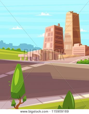 Vector beautiful sunshine over cartoon city with highway.