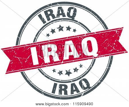 Iraq red round grunge vintage ribbon stamp