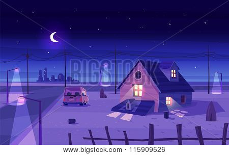 Vector beautiful moonlight over cartoon house