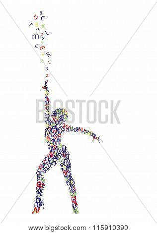 silhouette of woman composed of letters