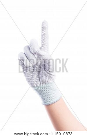 Show Hands One Finger With Cotton Gloves