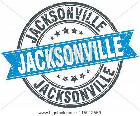 Jacksonville blue round grunge vintage ribbon stamp