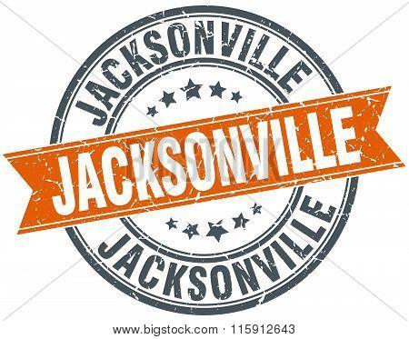 Jacksonville red round grunge vintage ribbon stamp