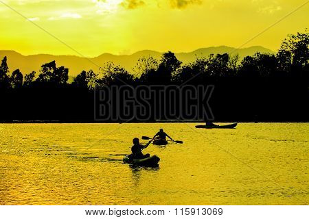 Abstract Nature, Kayaks And Sunste
