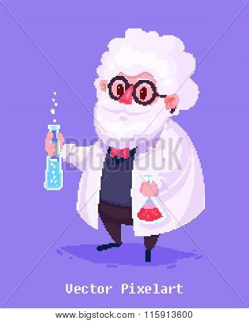 Funny scientist character. Isolated on violet background. Vector illustration.