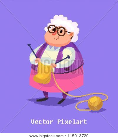 Funny old woman character. Isolated vector illustration.