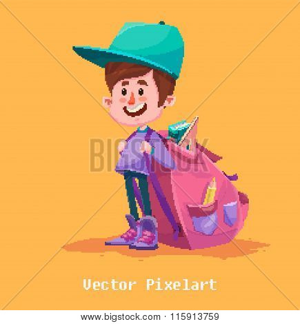 Pixel Funny Boy. Isolated on yellow background. Vector illustration.