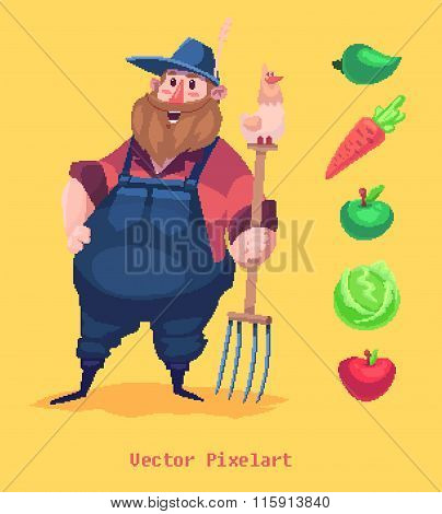 Pixel funny farmer character. Isolated on yellow background. Vector illustration.