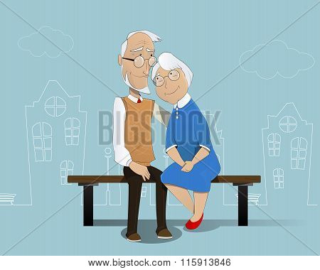 Happy Senior Couple. Cartoon