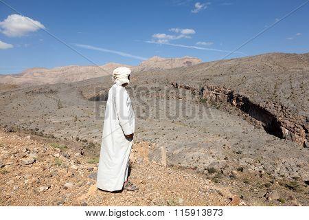 Tourist Guide At The Wadi Ghul, Oman
