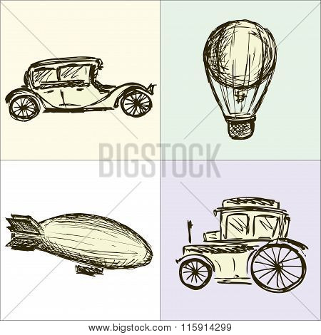 Steampunk Gears, Machine, Airship, Balloon, Hand Drawing, Vector
