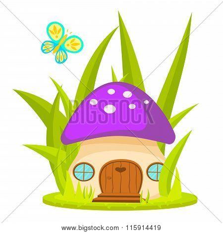 Mushroom House Cartoon Vector Illustration.