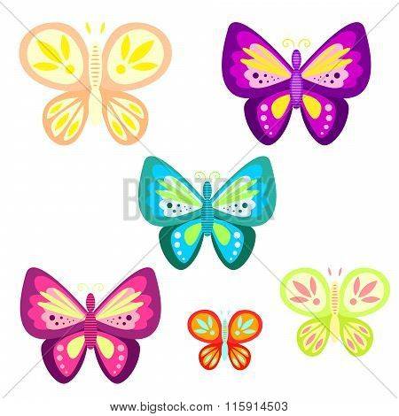 Butterfly Set Cartoon Vector Illustration.