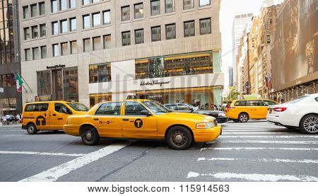Yellow Cabs In Manhattan Near The Store's Salvatore Ferragamo