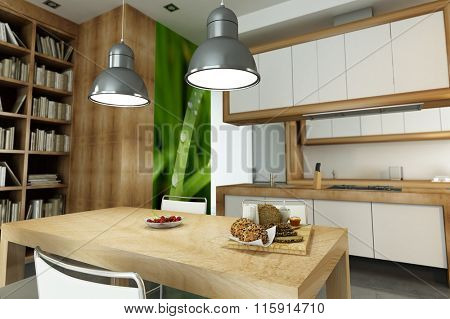 3D rendering of Modern apartment with an open plan kitchen