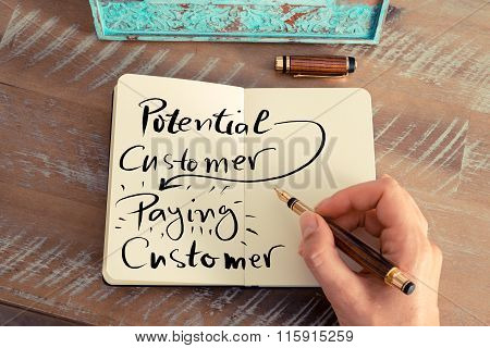 Written Text Potential Customer Paying Customer