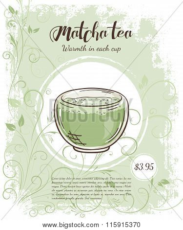Vector Hand Drawn Illustration Of Drinks Menu Pages With Cup Of Matcha