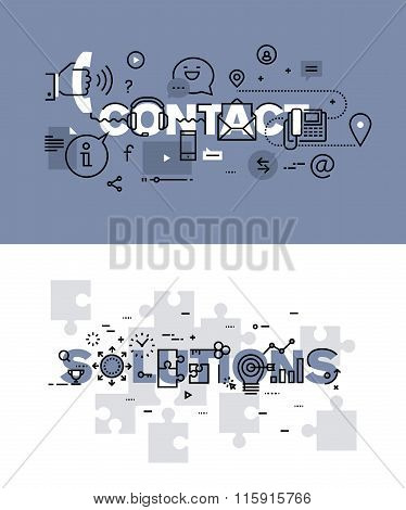 Set of modern vector illustration concepts of words contact and solutions