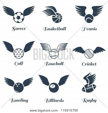 Sport Balls With Wings Icon Set.vector Symbols. Vector Illustration