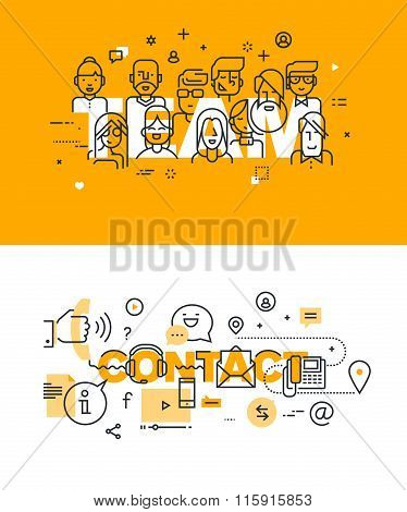 Set of modern vector illustration concepts of words team and contact